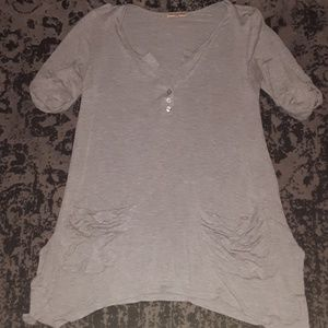 Grey asymmetrical top with pockets-S